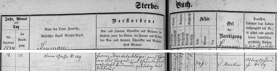 V českokrumlovské knize zemřelých nacházíme záznam o jeho úmrtí v Horní ulici čp. 149, označen je tu jako farář (ze Slavkova) a čestný děkan, pochován byl ještě na starém krumlovském hřbitově u sv. Martina