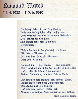 Exemplář jeho posmrtně vydané básnické sbírky z fondu Rakouské národní knihovny: nepůvodní vazba, patitul a báseň Karla Ludwiga Trinkla, věnovaná památce autora