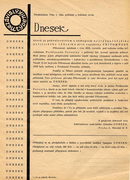 Leták přiložený k 1. číslu revue Dnešek v březnu 1946