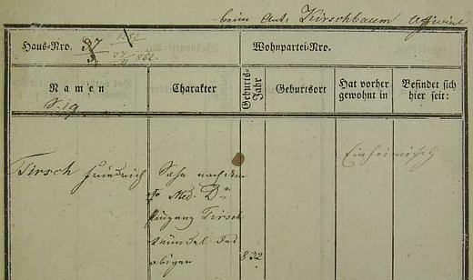 O rodilém němectví zakladatele Sokola Miroslava Tyrše svědčí tyto dvě pobytové přihlášky pražského policejního ředitelství z roku 1852 a 1865 na jméno Friedrich Tirsch, tj. syn MUDr. Vinzenze Tirsche z Děčína (Tetschen)