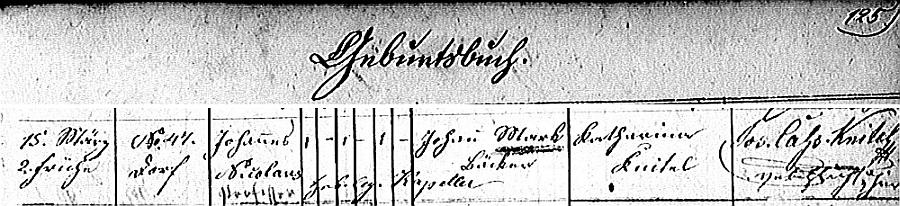 Záznam o jeho narození v křestní matrice tyrolské farní obce Elbigenalp