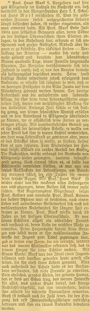 Z tohoto článku vyplývá, že zemřel v roce 1907