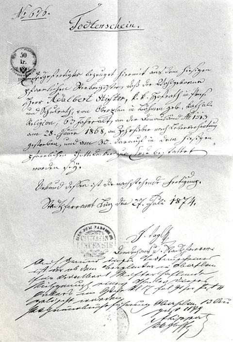 Stifterův úmrtní list, vystavený roku 1874 městským farním úřadem vLinci