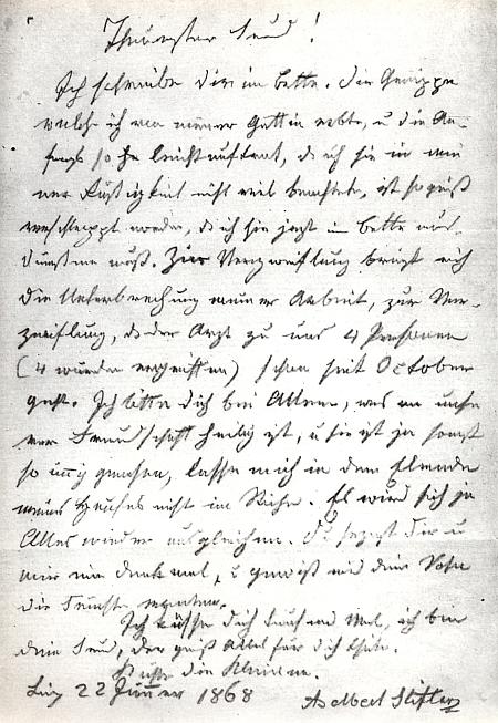 Poslední Stifterův dopis, napsaný šest dnů před smrtí nakladateli Heckenastovi do Pešti