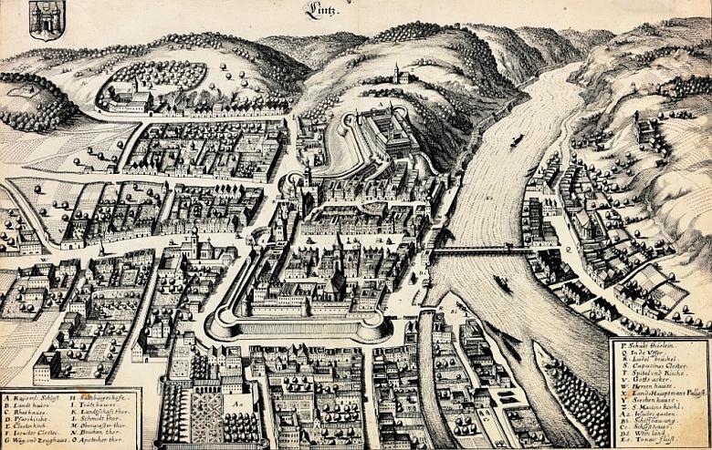 Město Linec na skvostné rytině Matthäuse Meriana (1593-1650)