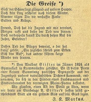 S jeho komentářem otištěná báseň mladého Adalberta Stiftera v českobudějovickém německém listě
