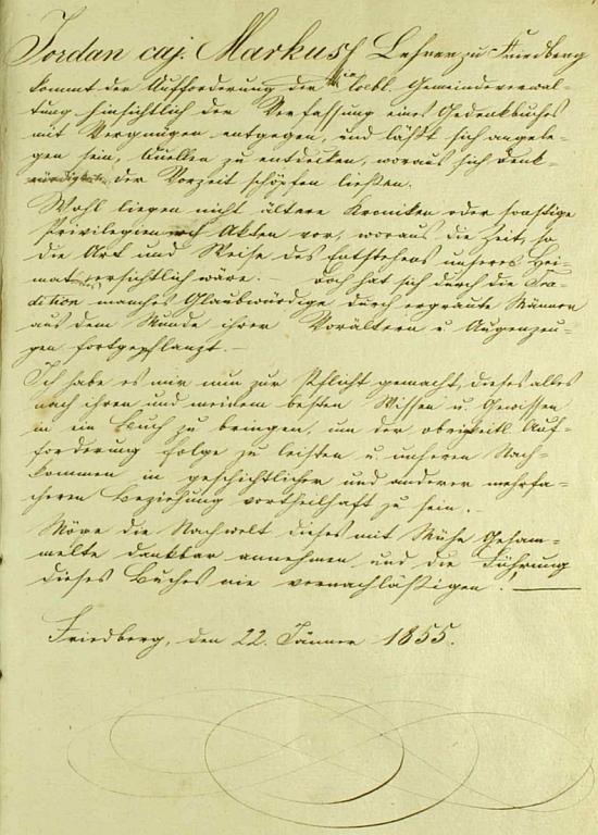 Vlastní rukou psaný úvod frymburské obecní kroniky