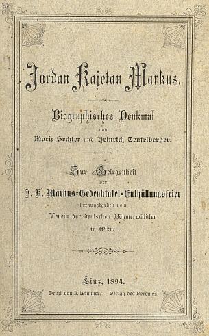 Obálka (1894) knihy o něm, vydané k odhalení pamětní desky na rodném domě