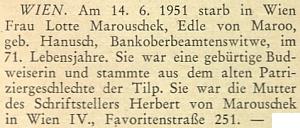 Zpráva o úmrtí jeho matky na stránkách krajanského měsíčníku v roce 1951