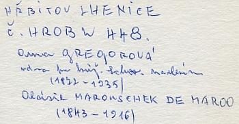 Záznam Ing. Antonína Nikendeye o lhenickém hrobě jeho pratety Aloisie i s letopočty narození a úmrtí, které revidují a doplňují data z Almanachu českých šlechtických rodů
