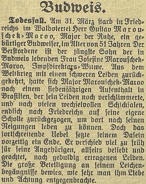 Nekrolog jeho strýce Gustava, rodáka z Českých Budějovic, na stránkách zdejšího německého listu
