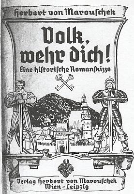 Titulní list této knihy opět s prachatickým motivem a ilustrace, zachycující město ve válečné vřavě