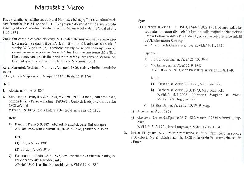 Stránky o něm, o jeho předcích a potomcích v Almanachu českých šlechtických a rytířských rodů 2009
