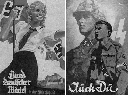 I takovéto plakáty měly odlákat mladé Němce od výuky náboženství a církevního vlivu