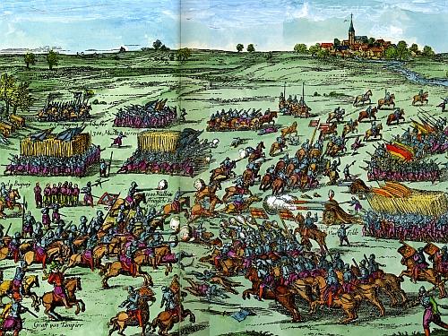 Bitva u Záblatí na kolorované rytině z roku 1630, vpravo nahoře Záblatíčko