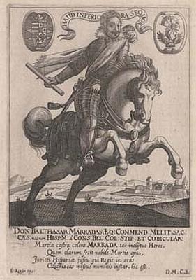 Tato dobová grafika ho zachycuje najezdeckém koni