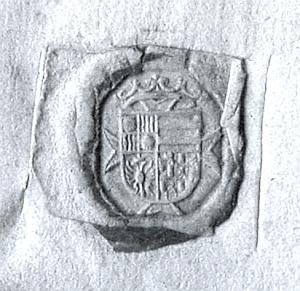 Marradasova znaková pečeť z jeho listu, datovaného 13. května 1634