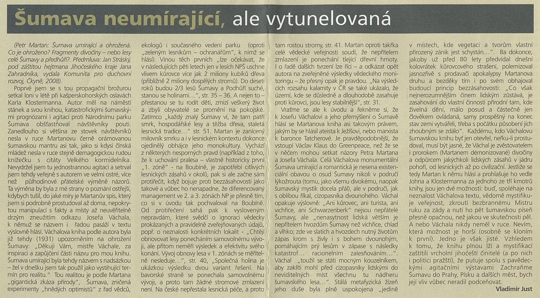 Polemický článek Vladimíra Justa s Martanovou knihou (viz níže obálka německého vydání), která se dovolává Josefa Váchala