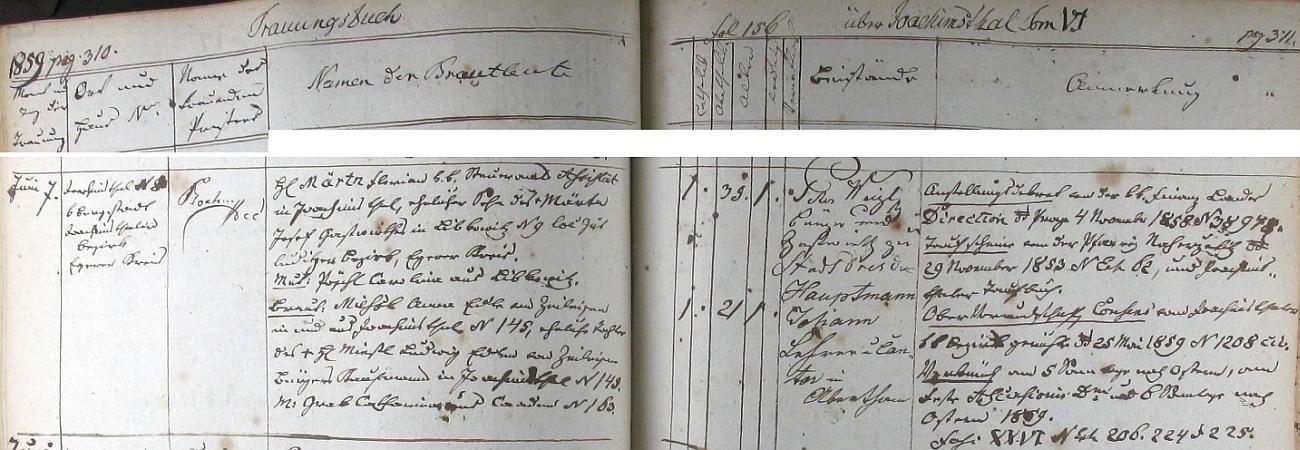 Záznam jáchymovské oddací matriky o zdejší svatbě jeho rodičů dne 7. června roku 1859