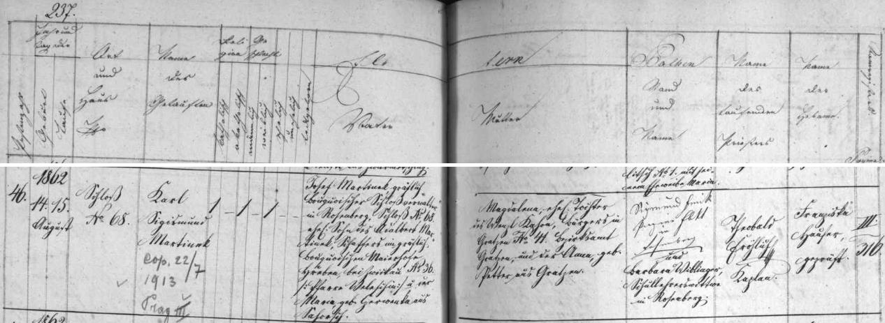 Záznam o jeho narození a křtu v matrice farní obce Rožmberk nad Vltavou