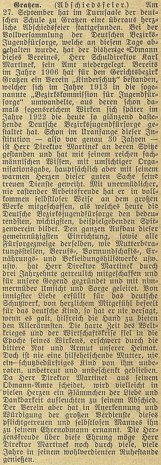 Článek o jeho loučení s novohradskou školou včeskobudějovickém německém listu