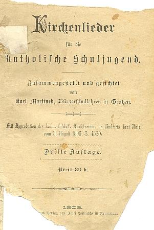 """Titulní list jeho sbírky """"kostelních písní pro katolickou školní mládež"""""""