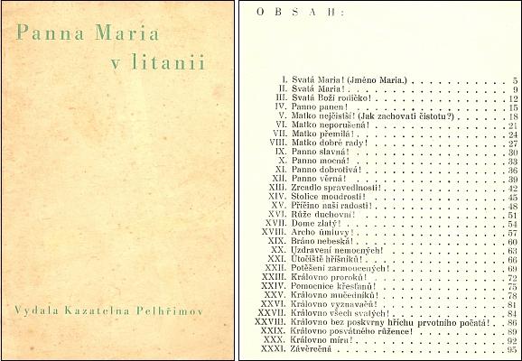 Obálka (1932) a obsah sbírky českých kázání (májových promluv) k jednotlivým (zde jen 31) oslovením mariánské litanie
