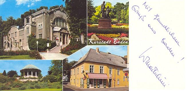 Pohlednice z Badenu podepsaná jeho vnukem Wilfriedem
