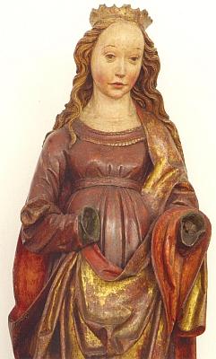 """Ještě prarodiče sedlačili vHomolích, odkud pochází tato skvostná socha neznámé světice, zakoupená roku 1908 budějovickým muzeem od jistého p. Bittnera """"aus Hummeln"""" a vzniklá někdy kolem roku 1515 (dnes je součástí sbírek Alšovy jihočeské galerie)"""