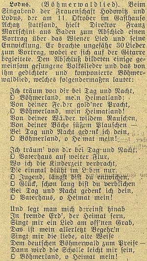 O jeho přednášce v Mladém s textem vlastní Martschiniho písně o Šumavě na stránkách českobudějovického německého listu