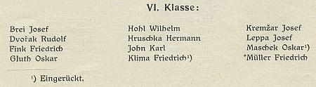 Jeho jméno na seznamu sextánů německého gymnázia vBudějovicích ve školním roce 1916/1917 s poznámkou, ženarukoval do války
