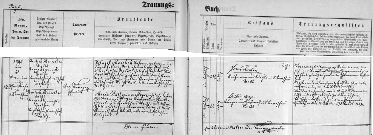 Záznam o svatbě jeho rodičů v listopadu roku 1895 v Německém Benešově