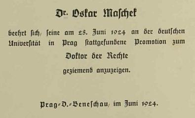 Záznam z kroniky školy v Deskách, kde ve školním roce 1921/1922 působil, o jeho pražské promoci nadoktora práv v červnu roku 1924