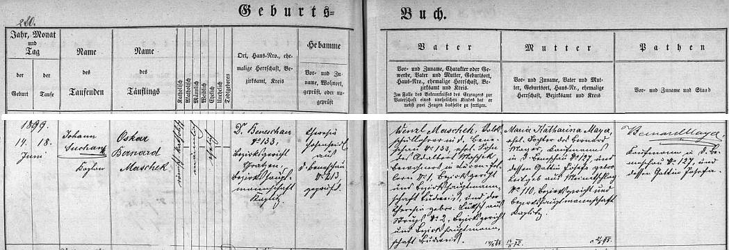 Podle záznamu v matrice farní obce Německý Benešov byl jeho otec zdejším učitelem, dědeček z otcovy strany majitelem domu v Suchém Vrbném čp. 1, maminka pak dcerou benešovského obchodníka Bernarda Mayera, který jako novorozencův kmotr připojil vpravo i svůj podpis