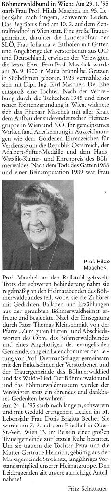 Nekrolog jeho ženy napsal do krajanského měsíčníku Fritz Schattauer