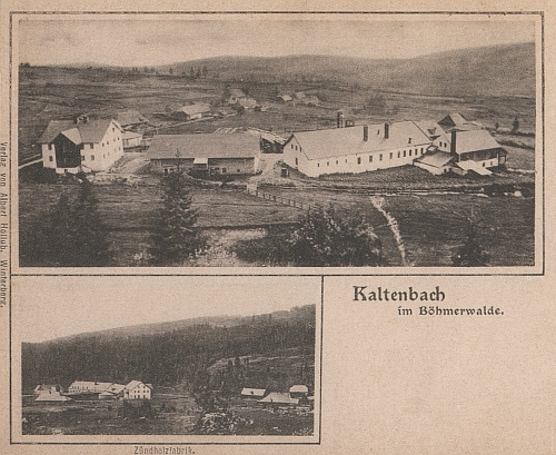 Stará pohlednice z Kaltenbachu dokazuje, že místní sirkárna měla v obci ústřední význam
