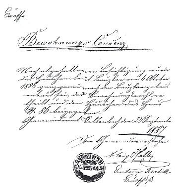 Dokument s podpisem prvního známého starosty rodné obce a jejím razítkem