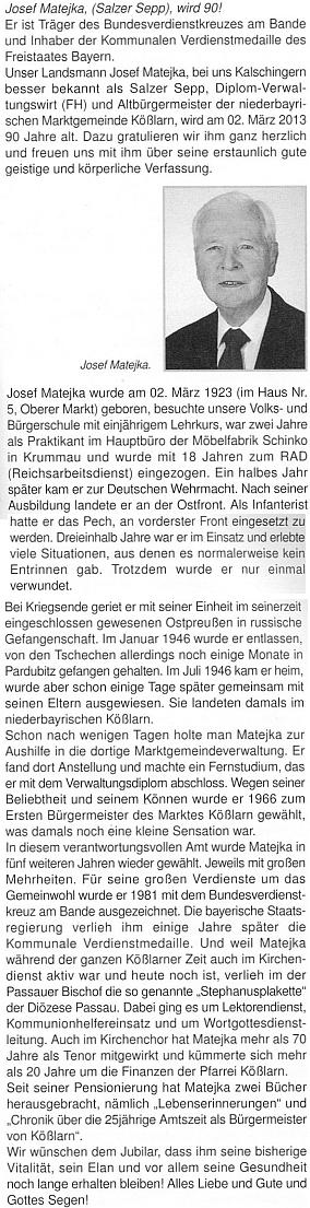 Připomínka jeho devadesátin na stránkách krajanského měsíčníku,     autorem byl Karl Böhm