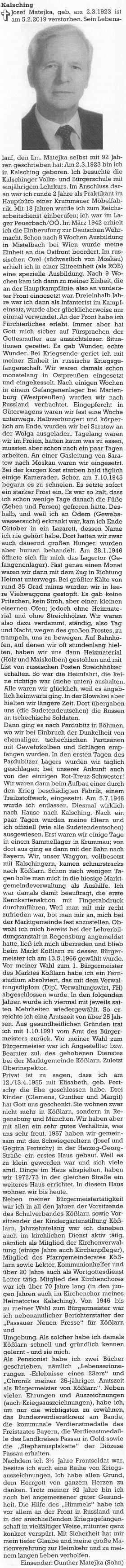Na místo nekrologu se na stránkách krajanského časopisu objevil jeho vlastní životopis, psaný v 92 letech věku