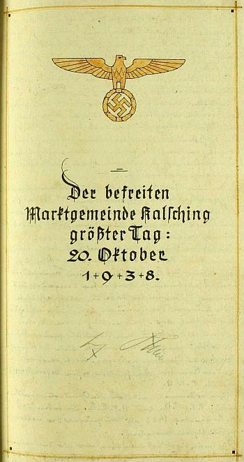 Hitlerův podpis v kronice obce Chvalšiny