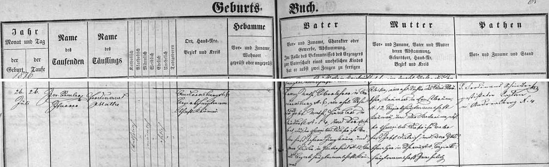 Podle záznamu v ondřejovské matrice se narodil dne 26. července 1876 v Ondřejově čp. 6 řídícímu učiteli Franzi Mathemu a jeho ženě Aloisii, dceři kramáře z Arnoštova (Ernstbrunn)