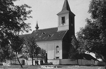 Kostel Kostel Navštívení Panny Marie v Ondřejově na Seidelově pohlednici