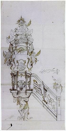 Variantní návrhy kazatelny pro ondřejovský kostel z roku 1730