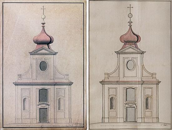 """Dva schválené původní návrhy významného vídeňského barokního architekta ve schwarzenberských službách Antona Erharda Martinelliho (1684-1747) na hlavní průčelí kostela v Ondřejově nesou výrazné """"české"""" rysy"""