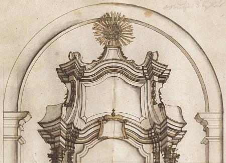 Schválený návrh hlavního oltáře kostela v Ondřejově z roku 1728 s prázdným polem pro schwarzenberský erb