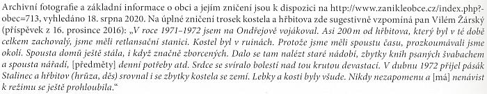 Svědectví o zániku ondřejovského kostela v roce 1972