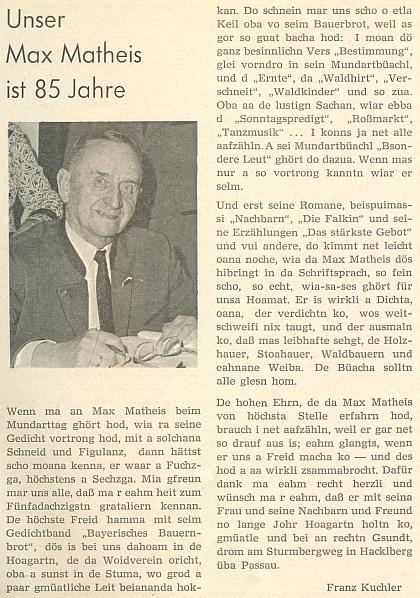 K jeho pětaosmdesátinám napsal mu v nářečí tento pozdravný text Franz Kuchler
