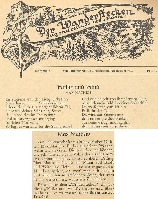 Jeho báseň v mládežnické příloze krajanského měsíčníku ze září rolku 1956
