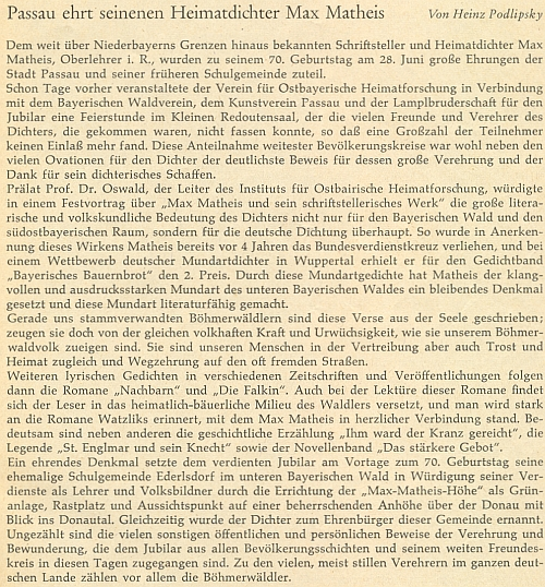 Článek o něm do krajanského časopisu napsal Heinz Podlipsky