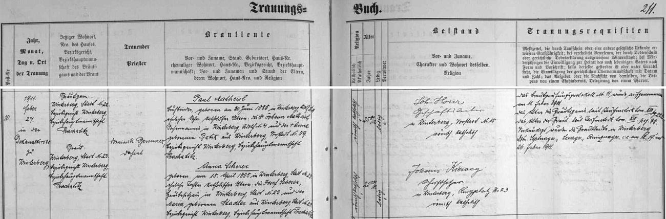 Svědectví vimperské matriky o zdejší svatbě jeho rodičů v únoru roku 1911 - otec byl podle záznamu knihvazačem a synem vimperského stupaře (tj. pracovníka mlýnu na křemen, zvaného také stoupa) Johanna Matheisla a jeho ženy Anny, roz. Batikové rovněž z Vimperka, matka Anna pak byla dcerou Josefa Scherera, majitele domu ve Vimperku čp. 23 a jeho ženy Marie, roz. Stadlerové na témže čp. 23